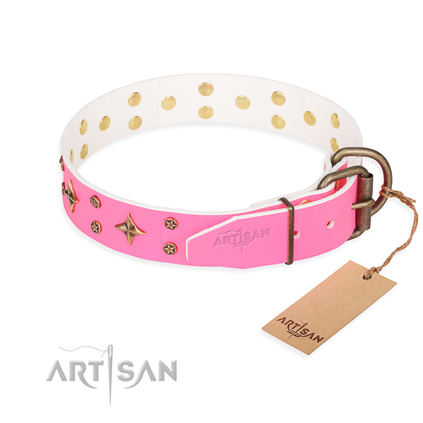 Basic training decorated dog collar of best quality full grain genuine leather