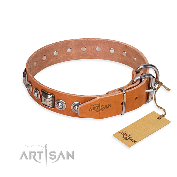 Natural genuine leather dog collar made of gentle to touch material with rust-proof adornments