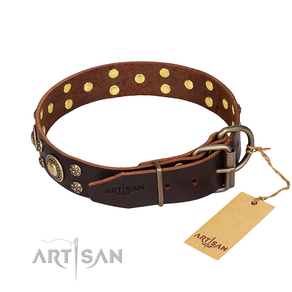 Handy use decorated dog collar of reliable full grain genuine leather