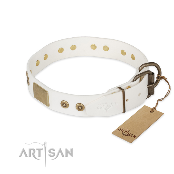 Reliable hardware on full grain leather collar for stylish walking your four-legged friend