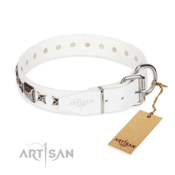Strong embellished dog collar of leather