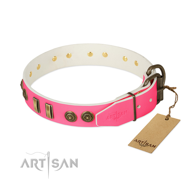Reliable buckle on full grain genuine leather dog collar for your doggie