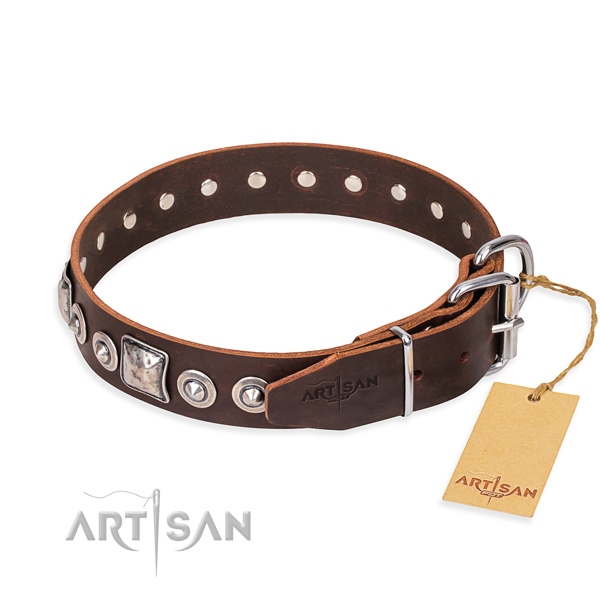Full grain genuine leather dog collar made of flexible material with rust resistant decorations