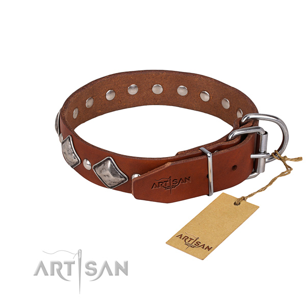 Handy use studded dog collar of fine quality leather