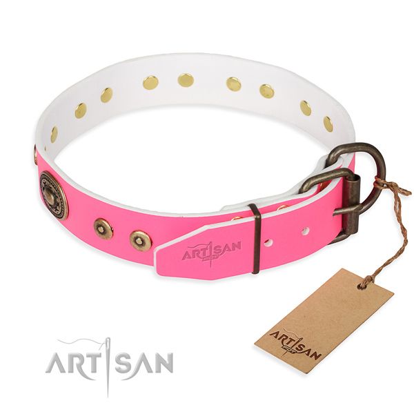 Genuine leather dog collar made of soft to touch material with reliable decorations
