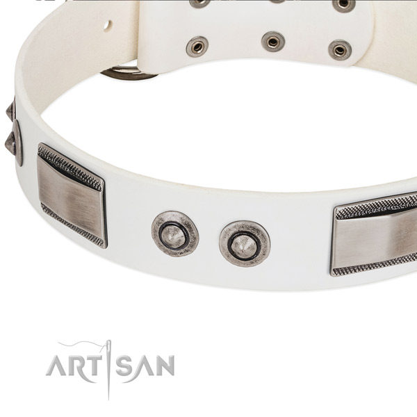 Trendy dog collar of full grain leather with studs