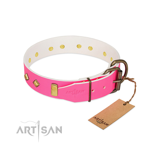 Genuine leather dog collar with rust-proof buckle for walking