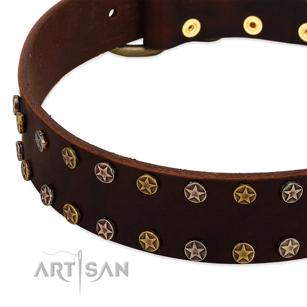 Easy wearing leather dog collar with designer decorations