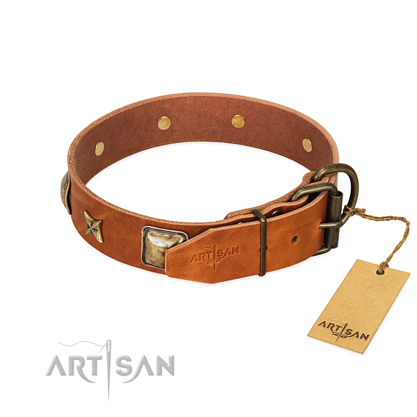 Full grain genuine leather dog collar with strong fittings and decorations