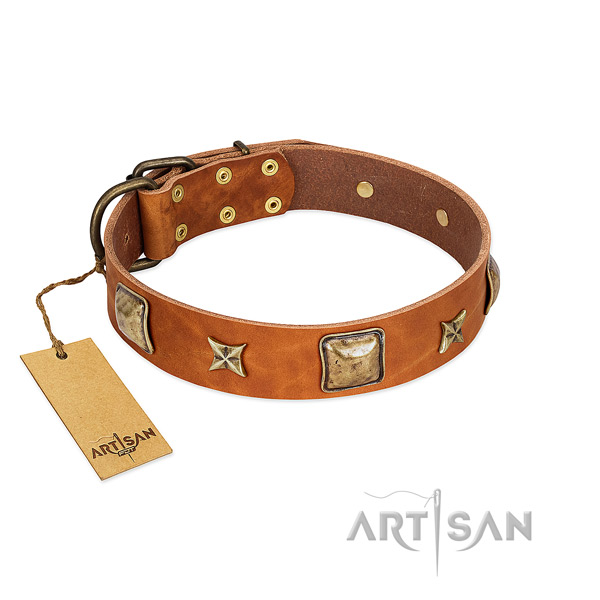 Adjustable full grain leather collar for your four-legged friend