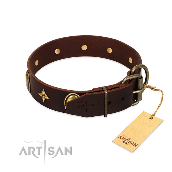 Best quality full grain genuine leather dog collar with fashionable studs