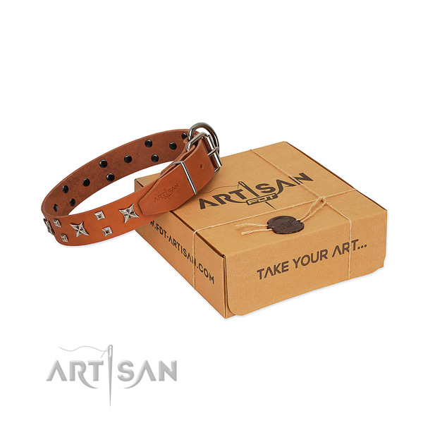 Fashionable embellished full grain natural leather dog collar of top notch material