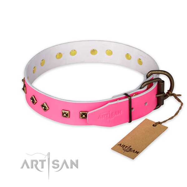 Durable D-ring on full grain natural leather collar for basic training your pet