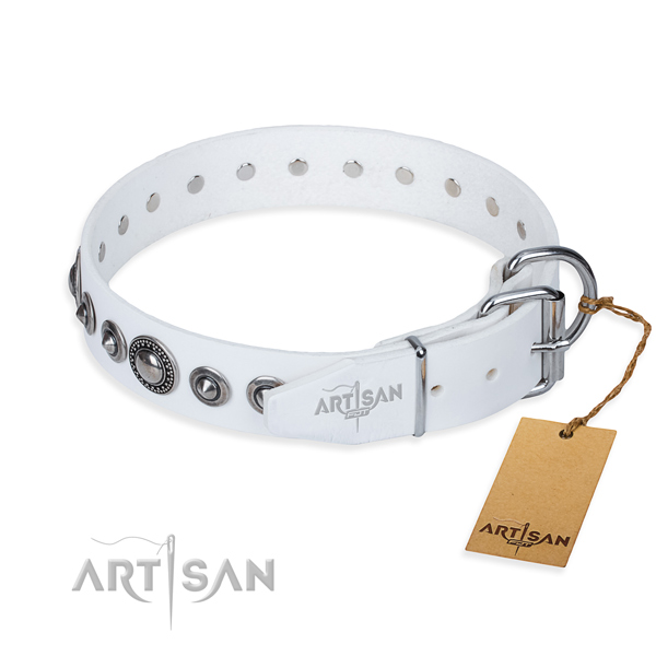 Full grain leather dog collar made of top rate material with corrosion proof embellishments