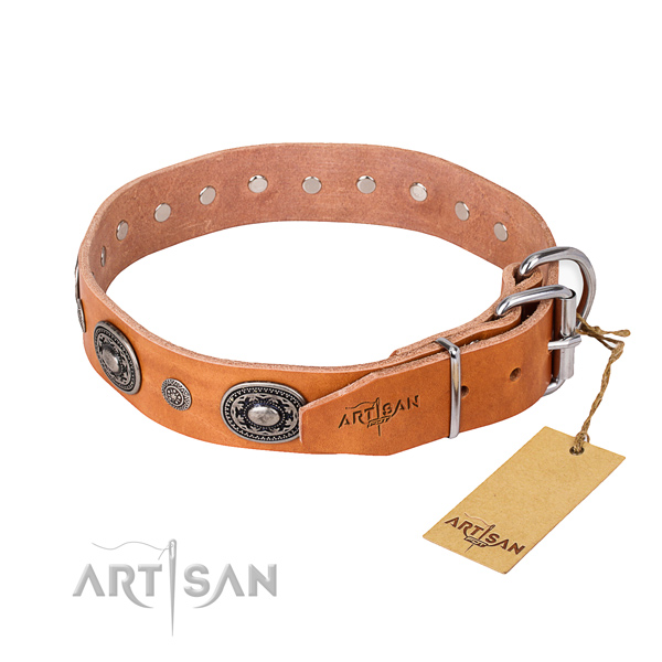 Top rate genuine leather dog collar made for everyday use