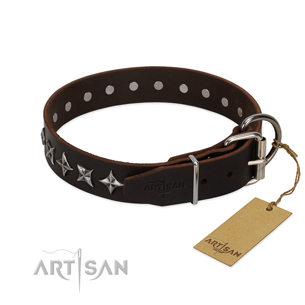Handy use adorned dog collar of durable full grain genuine leather