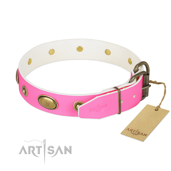 Strong D-ring on full grain natural leather dog collar for your pet