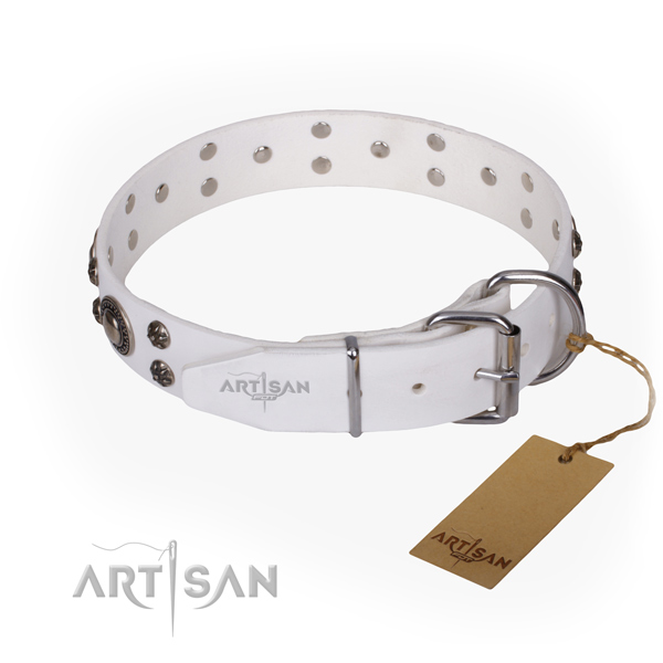 Comfortable wearing decorated dog collar of best quality full grain genuine leather