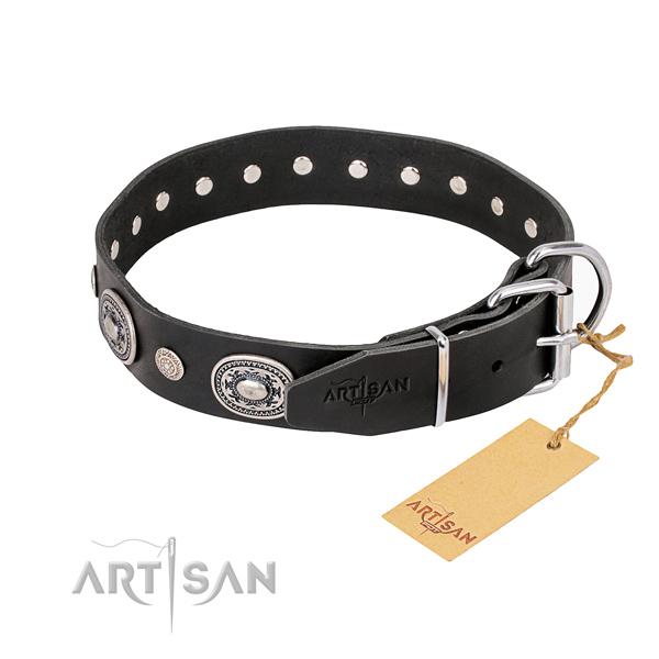 Gentle to touch full grain genuine leather dog collar made for walking