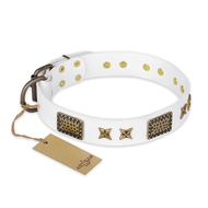 """Hour of Triumph"" FDT Artisan White Leather Amstaff Collar"