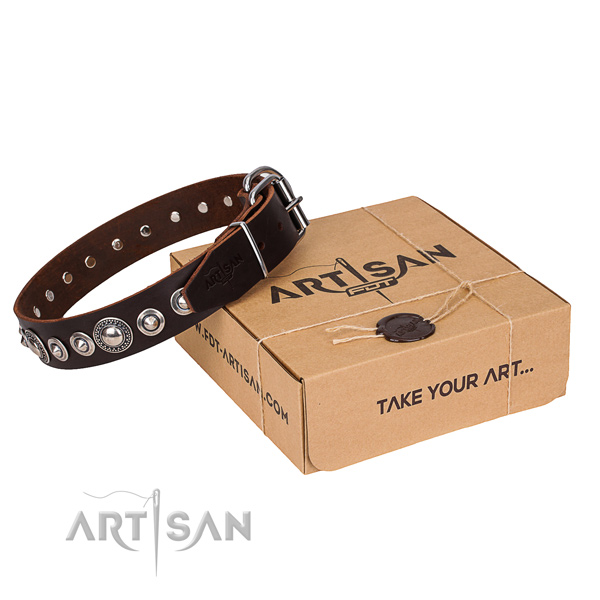 Quality full grain leather dog collar