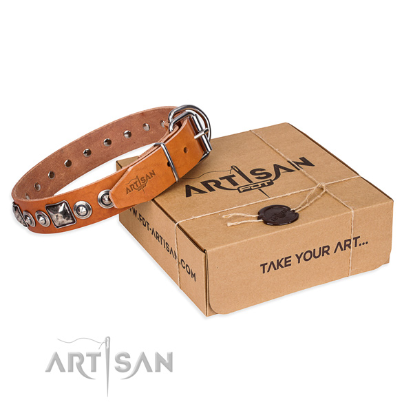 Leather dog collar made of soft to touch material with reliable D-ring
