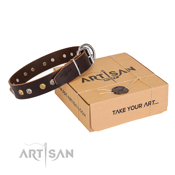 Soft full grain leather dog collar handcrafted for comfortable wearing