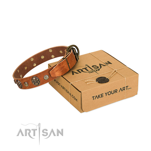 Rust-proof D-ring on natural genuine leather dog collar for daily use