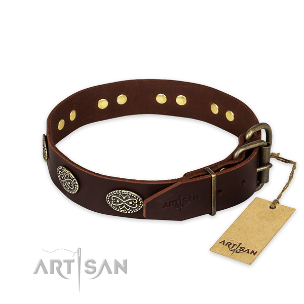 Rust resistant D-ring on full grain genuine leather collar for your lovely doggie