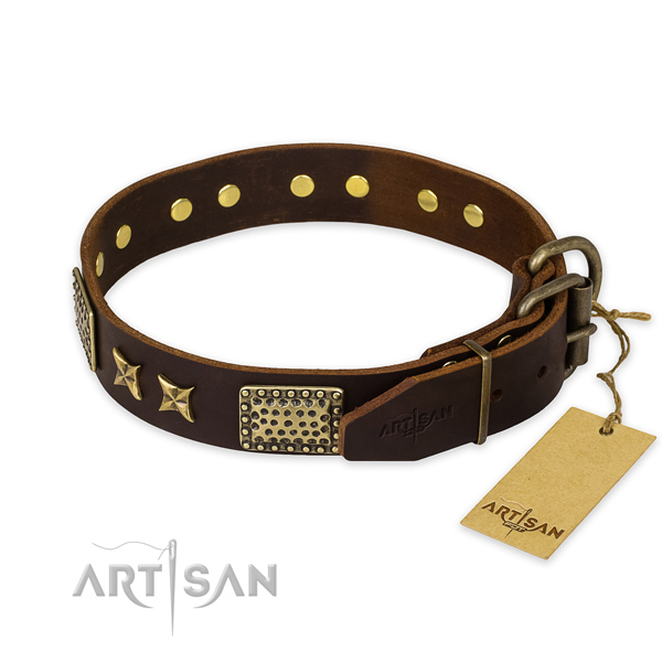 Strong D-ring on leather collar for your impressive dog