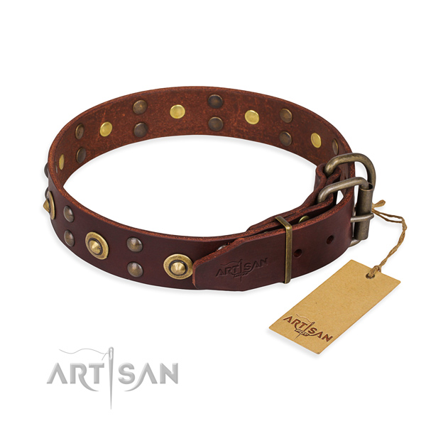 Rust-proof traditional buckle on full grain natural leather collar for your beautiful canine