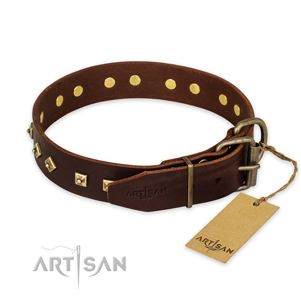 Reliable hardware on genuine leather collar for walking your doggie