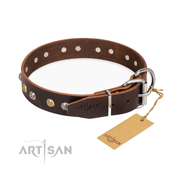 Durable full grain natural leather dog collar created for everyday walking