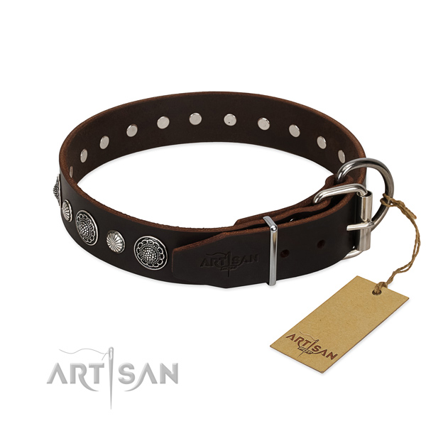 High quality full grain leather dog collar with corrosion proof D-ring