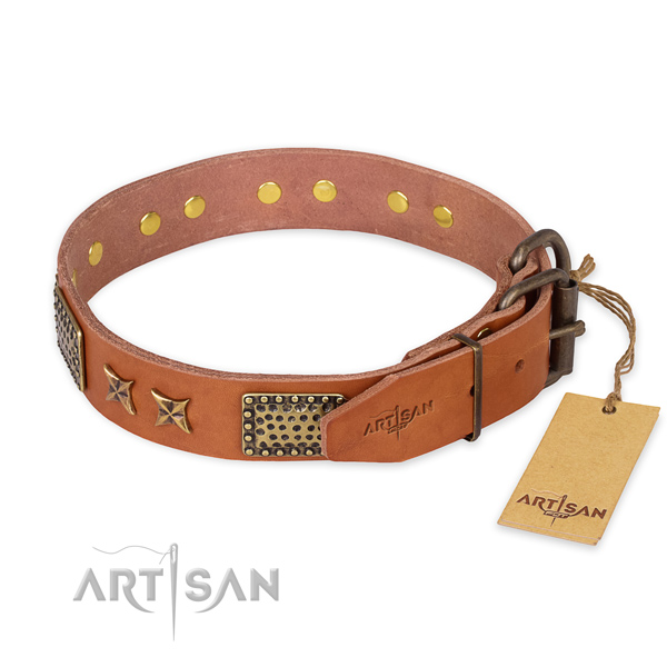 Rust resistant buckle on natural genuine leather collar for your attractive pet
