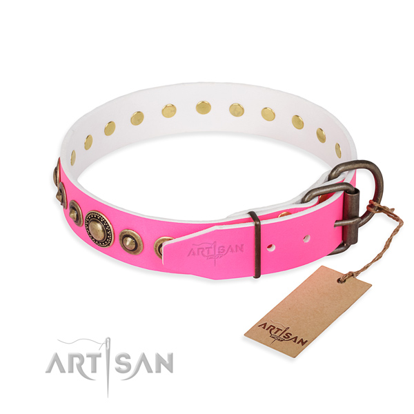 Strong full grain genuine leather dog collar handcrafted for handy use