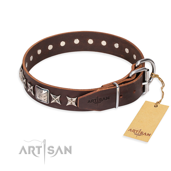 Finest quality adorned dog collar of natural leather