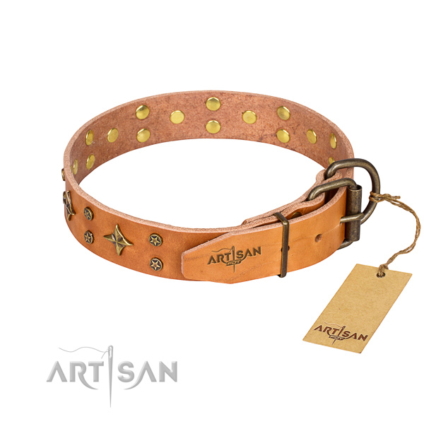 Handy use studded dog collar of finest quality leather