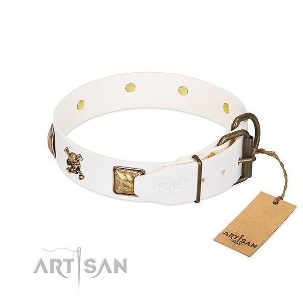 Everyday walking natural leather dog collar with stunning decorations
