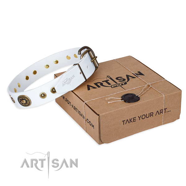 Full grain leather dog collar made of top notch material with rust resistant D-ring