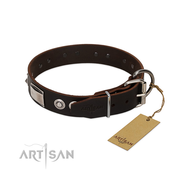 Convenient full grain genuine leather collar with embellishments for your canine