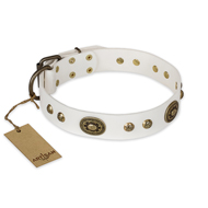 """Adorable Dream"" FDT Artisan White Leather Amstaff Collar"