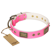 """Frenzy Candy"" FDT Artisan Decorated Pink Leather Amstaff Collar"
