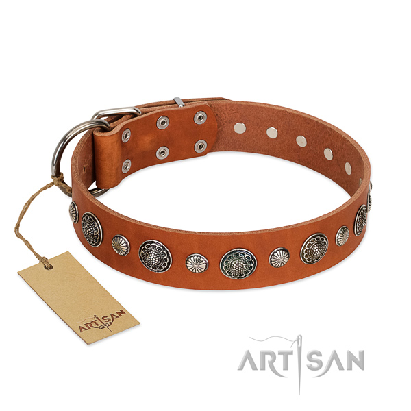 Durable genuine leather dog collar with rust resistant buckle