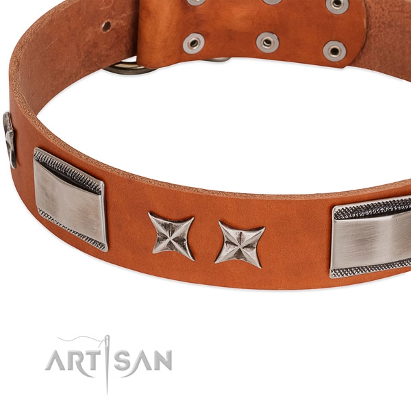 High quality full grain genuine leather dog collar with strong buckle