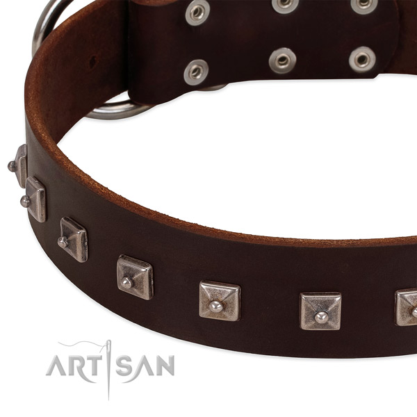 Flexible full grain natural leather dog collar with stylish decorations