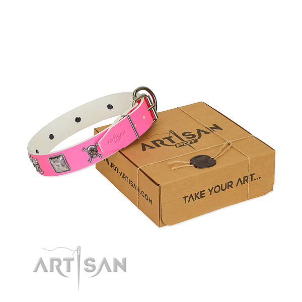 Easy adjustable genuine leather collar with embellishments for your four-legged friend