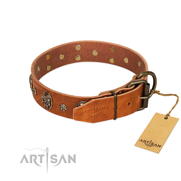 Reliable hardware on genuine leather dog collar for your dog