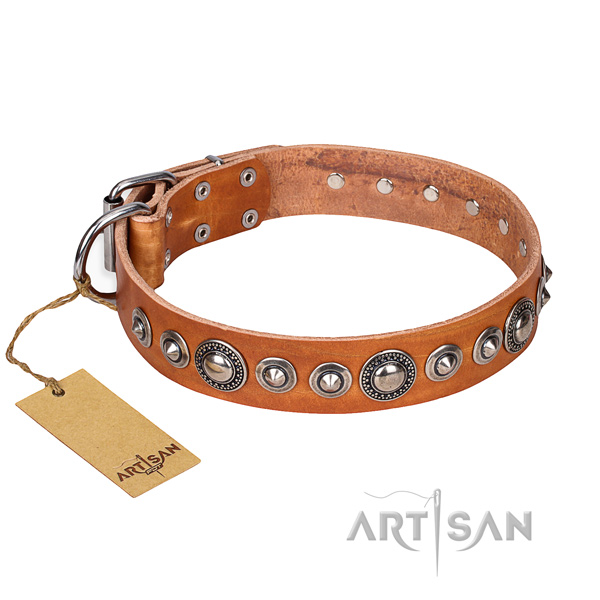 Genuine leather dog collar made of quality material with reliable buckle