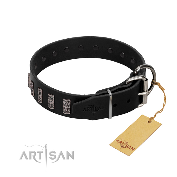 Corrosion proof D-ring on full grain genuine leather dog collar for daily walking your four-legged friend